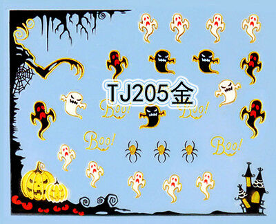 Halloween Tree Nails (Halloween GOLD Tree Pumpkin Ghost Spider Web BOO 3D Nail Art Sticker)