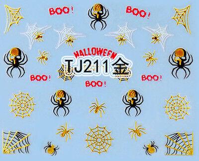 Halloween GOLD Black Spiders White Spider Webs BOO! 3D Nail Art Sticker - White Halloween Nails