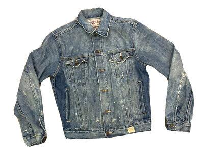 Abercrombie Fitch Men's Lot 00257 Denim Distressed Trucker Jacket Size Medium