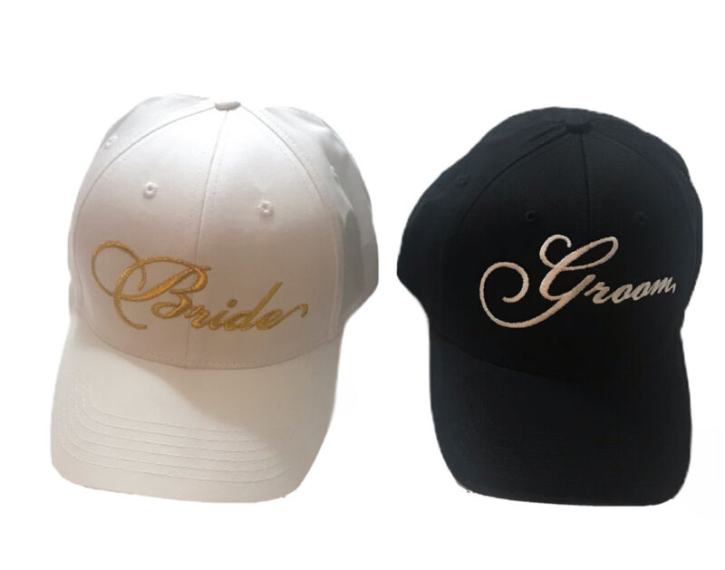 Bride And Groom Baseball Hats With Gold Embroidery on White Hat
