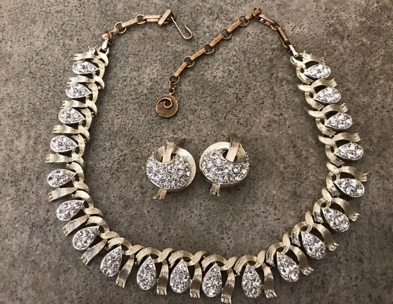 Vintage Lisner Brushed Ribbon Tear Drop Rhinestone Necklace & Clip On Earrings