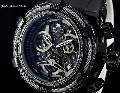 Invicta Reserve Bolt Zeus Tri-Cable Swiss Quartz 0.33ct DIAMOND All BLACK Watch