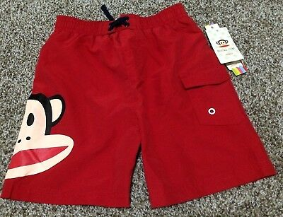 Paul Frank Babies - Small Paul Frank Julius Monkey Baby Toddler Boy Red Swim Trunks Shorts 12/24M/4T