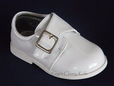 New Baby Infant Toddler Boys White Dress Shoes Baptism Christening Shiny Buckle - White Toddler Dress Shoes