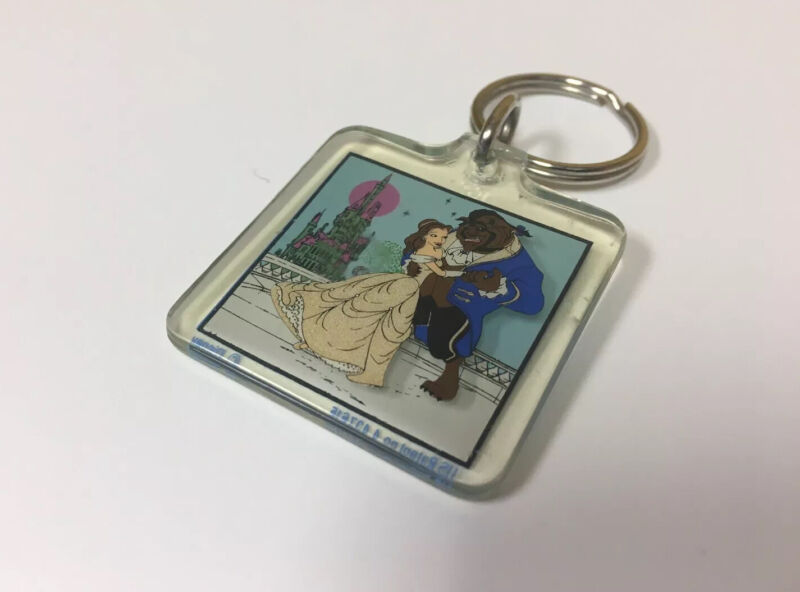 Vintage 1990s Disney Beauty And The Beast Key Chain 90