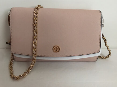 New Tory Burch Robinson Chain Leather Wallet Shell PinkGold MSRP 298