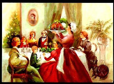 VINTAGE Old Fashioned Christmas Dinner Table Dog Tree - Greeting Card UNUSED ()