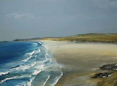 Praa Samds Cornwall original sea acrylic painting on panel unframed