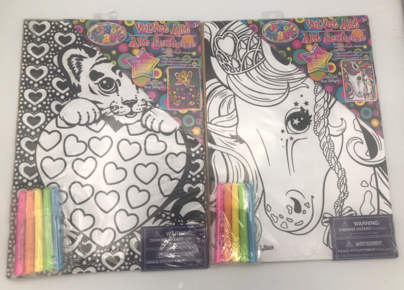 """Lisa Frank Velvet Art Color In Pages W/ 5 Markers Each Sealed Lot Of 2-11""""x7.5"""""""