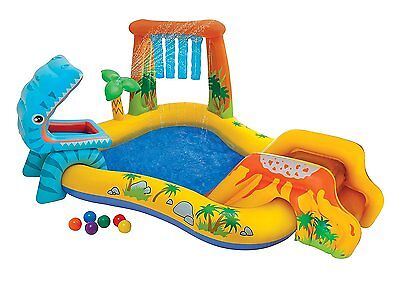 Intex 57444EP Dinosaur Inflatable Pool and Play Center, Kids Slide, Pool & Game