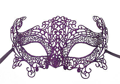 Mask from Venice Lace Burano-Wolf Civet Carnival- Purple 704 CB3