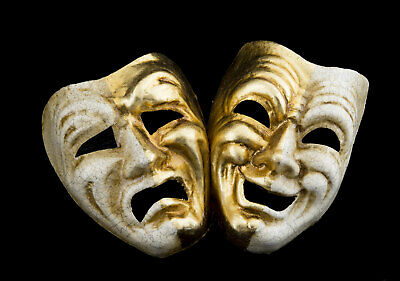 Masks miniatures from venice crackle golden Commedia Tragedia paper mash 22516
