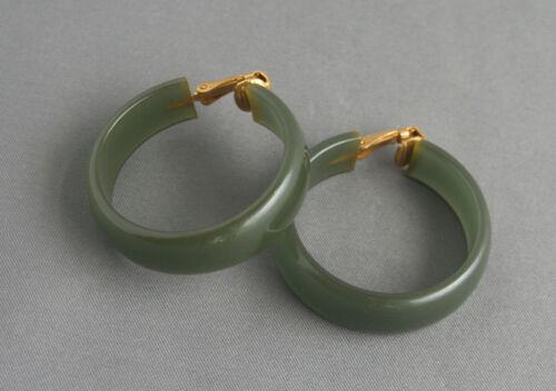 Pair Vintage Bakelite Hoop Clip Earrings Olive Green Color
