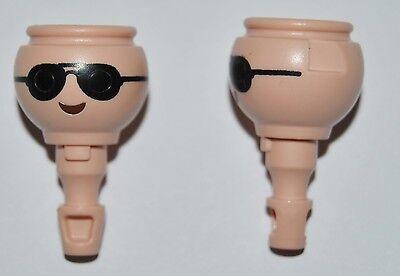 130620 Cabeza gafas negras 2u playmobil,head,kopf,testa segunda mano  Alcala de Guadaira