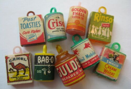 VINTAGE Plastic Miniature GROCERY~FOOD~PRODUCT Gumball Charm Prize Lot