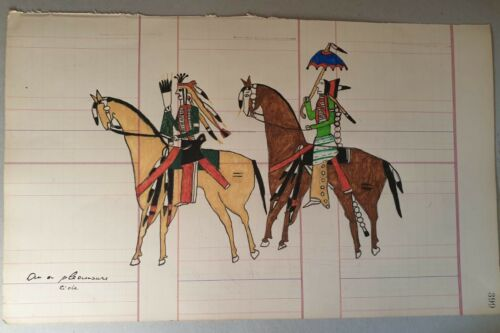 "Original Native American Drawing - ""on a pleasure ride"" Lakota Sioux - 1920-40"