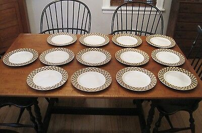 "LOT OF 13 BLOCK COUNTRY ORCHARD CHECKERED 10 1/2"" DINNER PLATES GEAR NEW 1995"