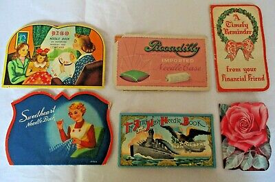 6 VINTAGE ADVERTISING SEWING NEEDLE BOOKS ~ SWEETHEART PICCADILLY PUGO ARMY NAVY
