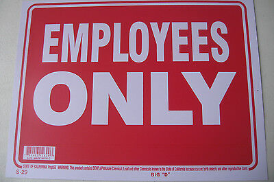 Employees Only For Buisness Sign 9x12 Red Flexible Plastic 12629
