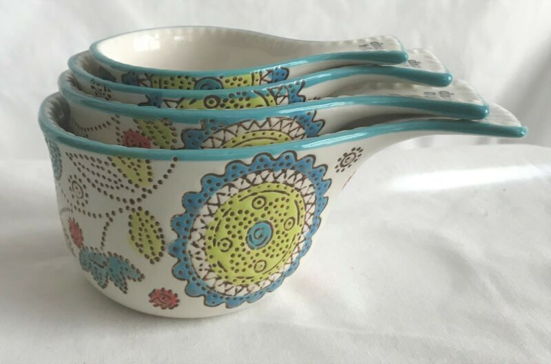 NEW Dutch Wax Measuring Cups Artsy Handpainted Set of 4 Ceramic Stackable
