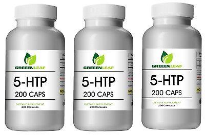 5-HTP LOT OF 3 200mg Supplement - 600 Capsules Huge Bottles BEST DEAL Greeen