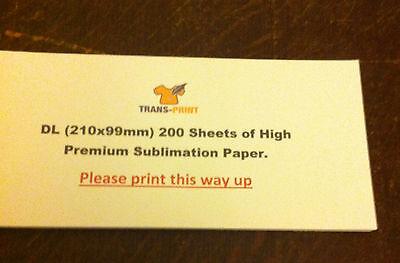 Sublimation Paper Dl 210mm X 99mm Transfert-shirtheat Pressmugs 200 Sheets