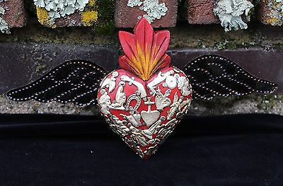 Red Wood Heart Tin Wings Silver Milagros Folk Art Michoacán Mexico Love Token