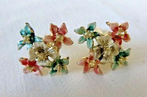Vintage Enameled Flowers Design Cuff Links Rhinestones Gold Plated Cufflinks