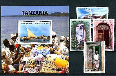 Tanzania 2009 MNH Zanzibar Attractions 11v incl 2 M/S Monkeys Tortoises Stamps