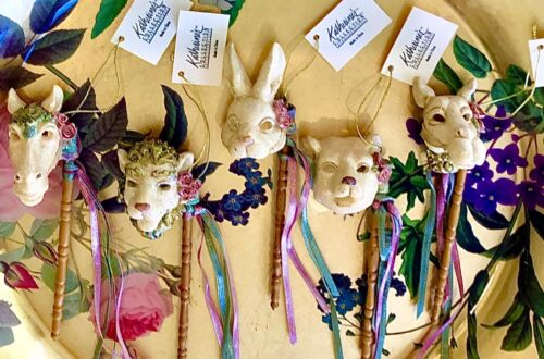 New Katherine's Collection Set of 5 Carousel Animal Mask Ornaments