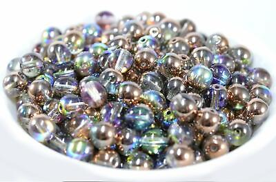 Czech Druk Round Glass Geads~Czech Round Beads~Crystal Copper -