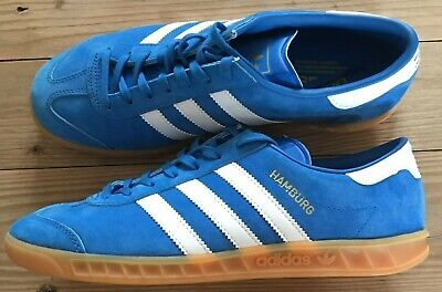 Rare Adidas Hamburg Trainers Blue & White Size 8 Football Casuals Deadstock