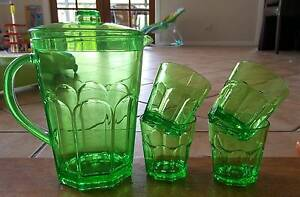Green Jug and 4 x Cups. Great for Picnics Rankin Park Newcastle Area Preview
