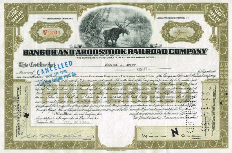 USA BANGOR & AROOSTOOK RAILROAD COMPANY stock certificate