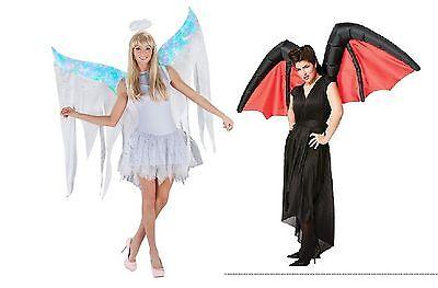 NWT ADULT INFLATABLE COSTUME WINGS - DEVIL OR ANGEL - GOOD VS EVIL AIR - Evil Angel Costume