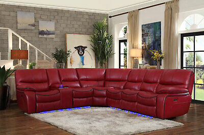 NEW Living Room Sectional - Red Faux Leather Power Reclining Sofa Couch Set IF66