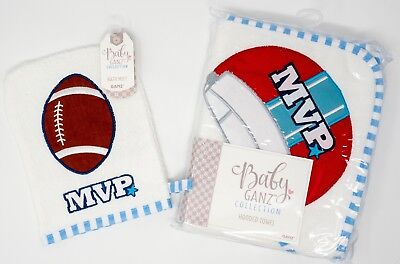 Baby Boy Hooded Bath Towel & Mitt Football NWT 100% Cotton Ganz MVP 30 x 30