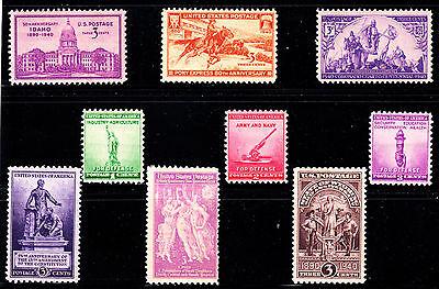 Us  1940  Full Commemorative Year Set  9 Stamps  Mnh Og