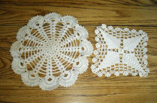 "Vintage Beige Doily Crocheted 9 1/2"" Round  & 6"" Square Table Scarf  ~ Set of 2"