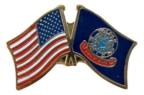 United States Flag and Idaho State Flag Hat Tac or Lapel Pin