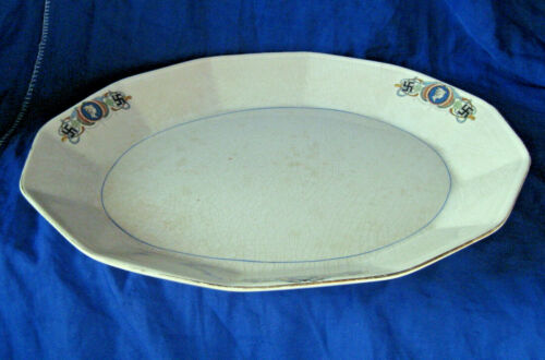 "Sebring Pottery Co Lady Luck Pattern Twelve Sided Serving Platter 13 1/4"""