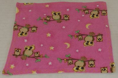 Muslin & Flannel Baby Wash Cloth Pink with Owls Flannel/Unbleached Muslin for sale  Shipping to India