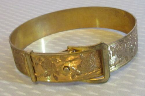 """antique Victorian FLORAL CHASED BRASS BUCKLE BRACELET flexible snap opening 6.5"""""""