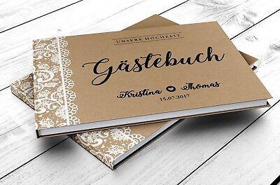 Gästebuch Hochzeit Hardcover Vintage Spitzen Fotobuch - PERSONALISIERT Brautpaar ()