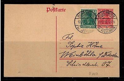 Deutsches Reich Postkarte P 107 mit Zusatzfrankatur Suderwich Reckli -int.Nr.124