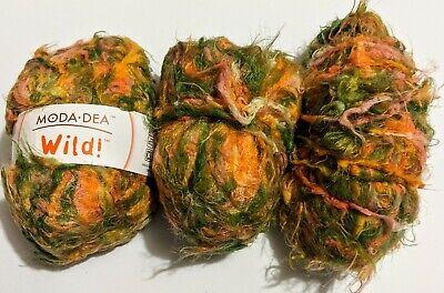 Lot 3 New Moda Dea Wild Spring Yarn Skeins Crochet Knitting Orange Green Yellow Green Spring Knitting Yarn