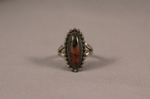 Navajo silver and  petrified Wood  Ring  Size 8