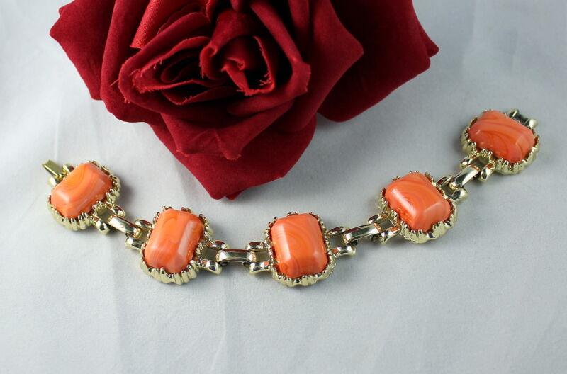 Vintage Coral Color  Gold tone  Bracelet CAT RESCUE