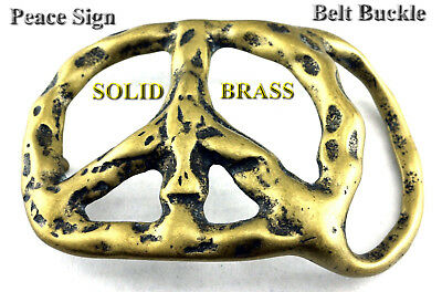 PEACE SIGN PEACE SIGN HIPPIE RETRO VINTAGE SOLID BRASS BELT BUCKLE NEW
