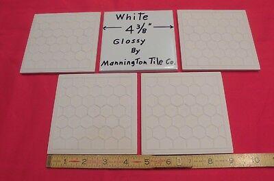5 pcs. Vintage *White* Glossy Ceramic Field Tiles 4-3/8